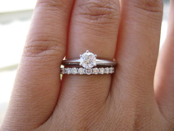 Round Brilliant Solitaire Tiffany Setting Engagement Ring with Shared Setting Wedding Band