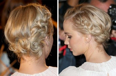 Jennifer Lawrence usa penteado romântico com tranças   girlie hair inspiration; romantic look with braids