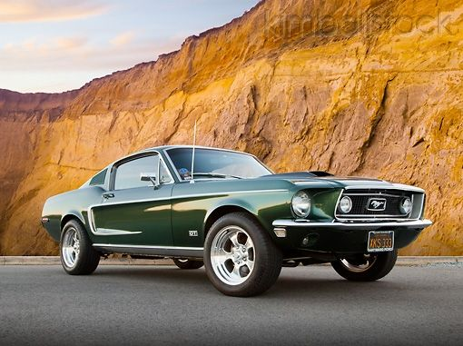 MST 01 BK0002 01 - 1968 Ford Mustang GT 428 Cobra Jet Highland Green 3/4 Front View On Pavement By Cliffside - Kimballstock