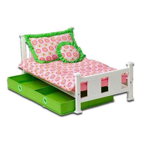 "Doll's Heart Bed, Send your My Twinn off to dreamland in this stylish heart bed. Single bed includes frame, mattress, comforter, storage drawer, and two pillows. This item is designed for play with both our 18"" & 23""dolls. Product Details: 28.5"" L x 13.75"" H x 16.5"" D Z"