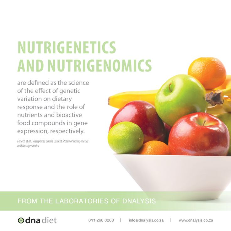 Nutrigenetics and nutrigenomics are defined as the science of the effect of genetic variation on dietary response and the role of nutrients and bioactive food compounds in gene expression, respectively.  #dnalysis #dnadiet