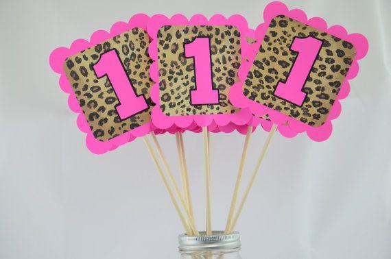 Cheetah Print Party Centerpieces Cheetah Theme by lisamarDesigns