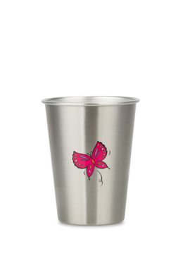 NEW LOOK BUTTERFLY 350ml illustrated stainless steel cup from ecococoon. RRP$10.95
