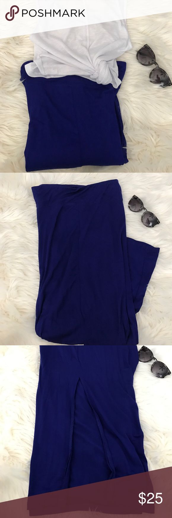 Kensie Bright Blue Maxi Skirt Kensie Bright Blue Maxi Skirt.  Has a slit in front middle.  Soft, cozy and chic.  New without tags. Kensie Skirts Maxi