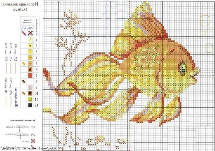 """схема вышивки """"золотая рыбка"""""""