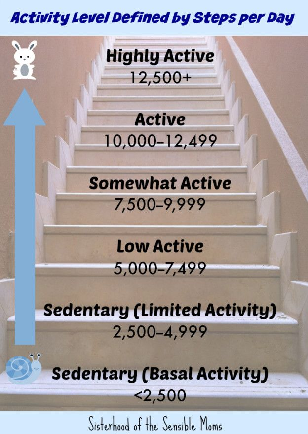 The Truth About 10000 Steps and Your Health  Read for more diet and fitness tips.  Sisterhood of the Sensible Moms  Activity Levels Defined by Steps per Day