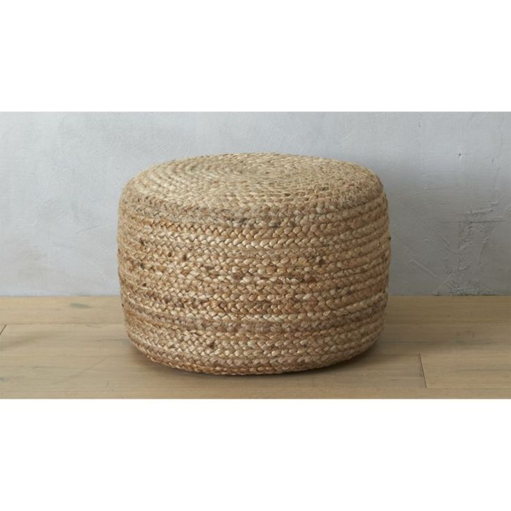 braided hemp pouf home goods pinterest fireplaces crate and barrel and trays. Black Bedroom Furniture Sets. Home Design Ideas