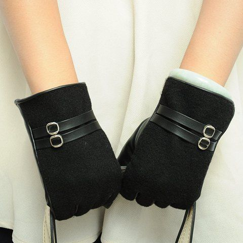 Pair of Stylish Faux Leather Strappy Embellished PU Matching Gloves For Women