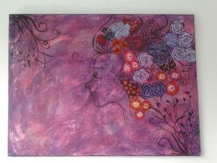 schilderij fantasie 60x40 acryl met zout, te koop