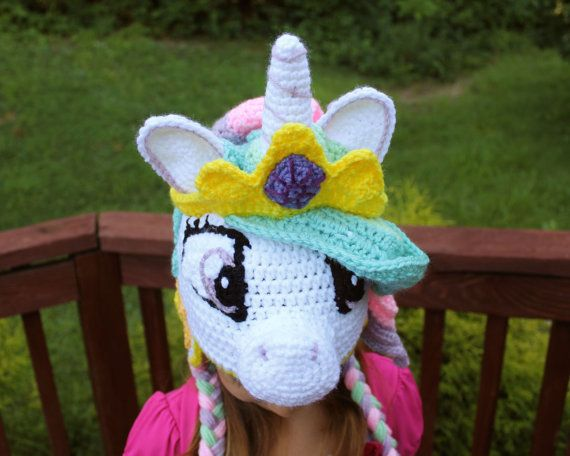 My Little Pony Costume, Princess Celestia Crochet Hat, Crochet Toddler Hat, Baby Crochet Hat, Halloween Costume, Christmas Gift Idea