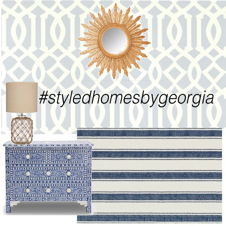 Pattern Play! Not quite finished, what do you think of this so far? #trelliswallpaper #sunmirror #boneinlay #stripedrug #hamptons #styledhomesbygeorgia #moodboard #interiors #design #propertystylist #melbournestylist #interiordecorator #blueandwhite #classicstyle #classic #style