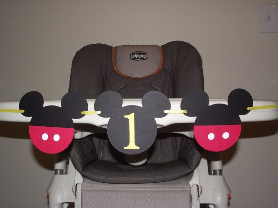 Mickey Mouse Birthday banner,  I AM 1, high chair banner, first birthday, GIRL or BOY birthday. first birthday. Mickey decorations on Etsy, $14.00