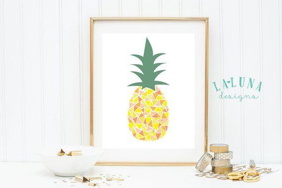 Pineapple Print Pineapple Wall Art Pineapple Art by LaLunaDesigns