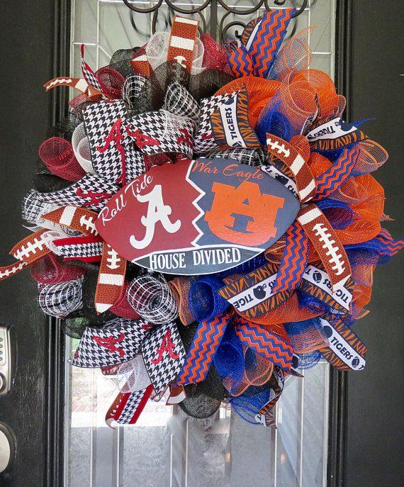 House Divided Football Wreath, Football Door Hanger, SEC football, Football Party, Alabama/Auburn Wreath, Front door wreath This house divided wreath can be made with any teams! This wreath is made with layered loops of deluxe deco mesh, and accented with deco mesh spirals, high
