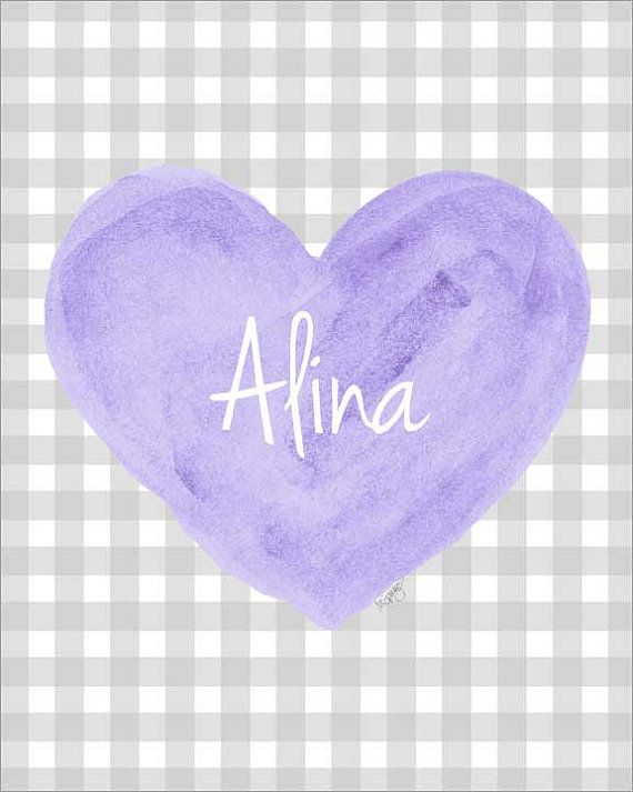 Purple and Gray Nursery Art, 8x10 Watercolor Heart, Purple Nursery Art, Lavender Nursery Decor, Lavender and Gray Nursery Art, Lilac