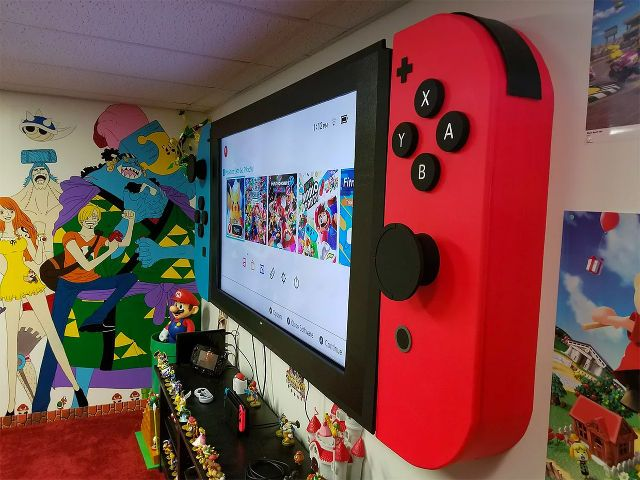 65 Inch Flatscreen Modded To Look Like A Giant Nintendo Switch