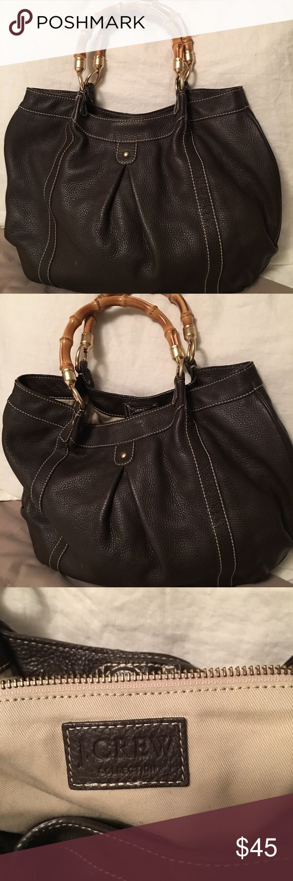 J Crew Handbag Very pretty J Crew Handbag in a dark brown pebble leather with very pretty bamboo handles. Very soft leather J. Crew Bags Satchels