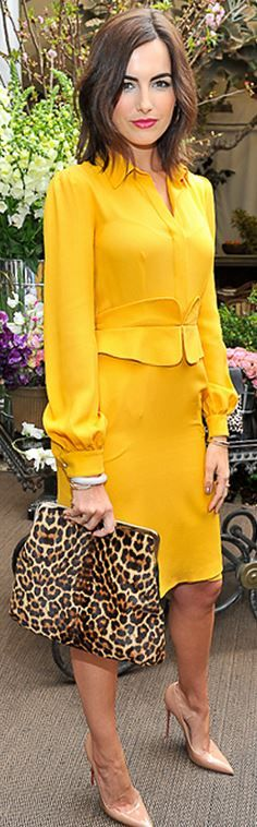 Who made Camilla Belle's yellow long sleeve top, nude pumps, and leopard handbag?