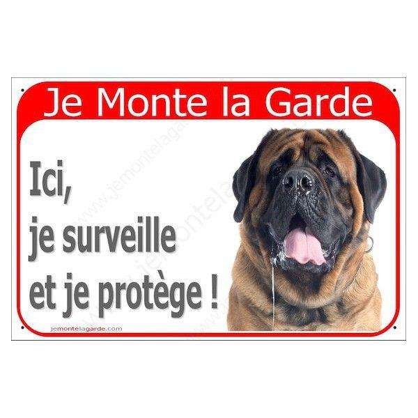 Mastiff Fauve Tête Plaque Portail Je Monte La Garde