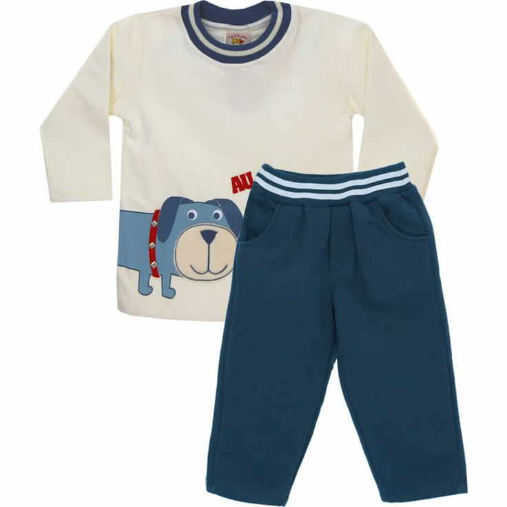 Conjunto de Moleton Infantil Menino Au Au Cru - Nini & Bambini :: 764 Kids | Roupa bebê e infantil