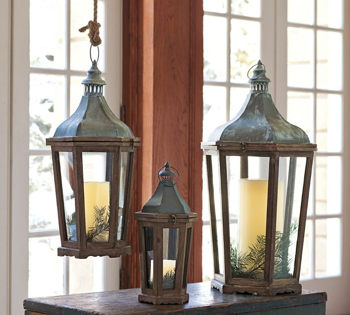 A trio of lanterns can change seasonal to reflect the holidays.  www.augusthaven.com/products/171415