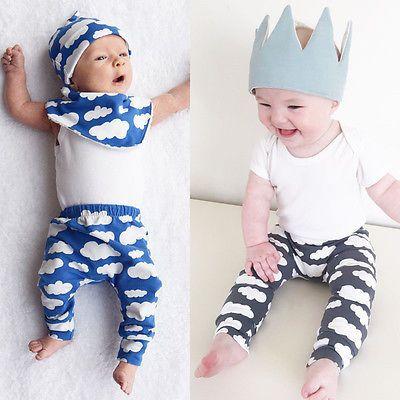 Moda Bebê Da Menina Do Menino Esportes Casuais Calças Compridas Nuvens Dos Desenhos Animados para Crianças Recém-nascidas Calças de Cintura Elástica Totalmente