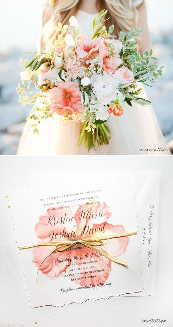 Tropical coral peach beach wedding invitations | Mospens Studio