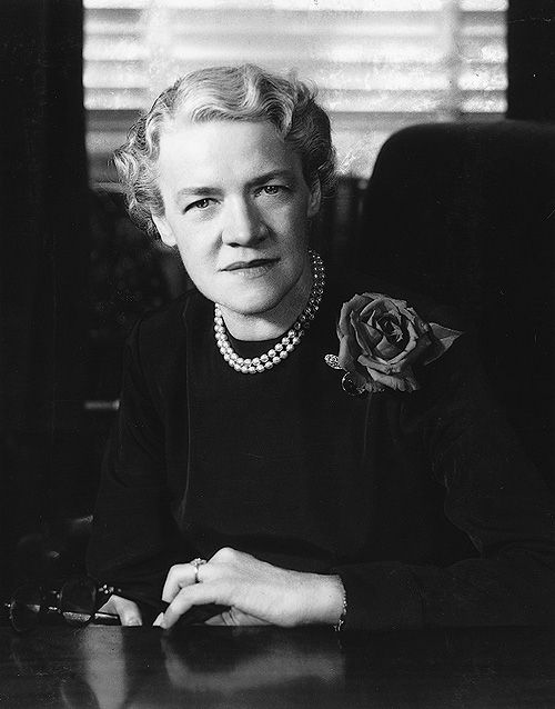 Senator Margaret Chase Smith (R) ME who ran for president and came in second to Barry Goldwater.  http://www.mcslibrary.org/bio/biog.htm