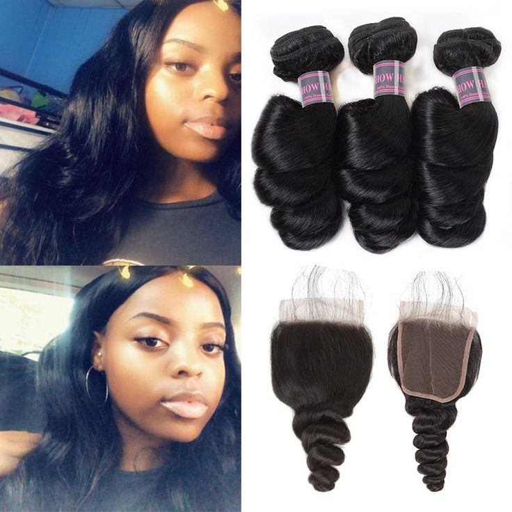 100% Unprocessed Loose Wave Human Hair 3 Bundles with Free Closure Double Weft 8A Brazilian Hair Bundles With Closure Real Mink Human Hair Extensions On Sale #hairbundles #humanhair #deal #hairstyles