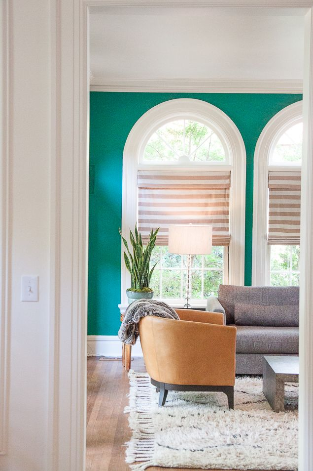 Emerald Green Living Room In An Historic Home In Oklahoma City With Updated  Furnishings Including Leather