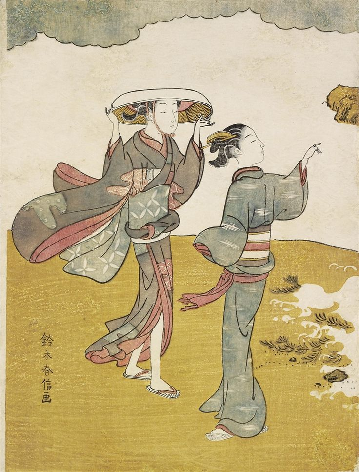Suzuki Harunobu (1725?-1770) -  Two women on a windy shore