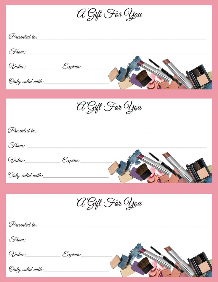 Gift certificates just in time for call or text to order for Free beauty gift voucher template