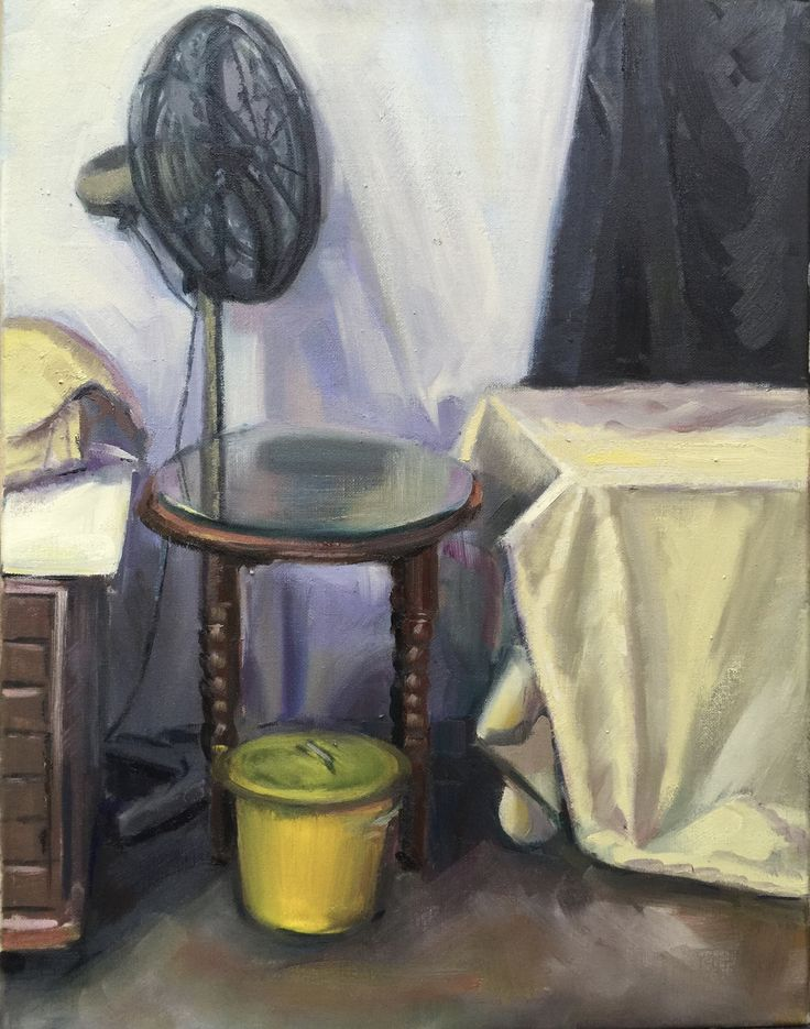 Yellow bin  Oil on linen 45x30cm