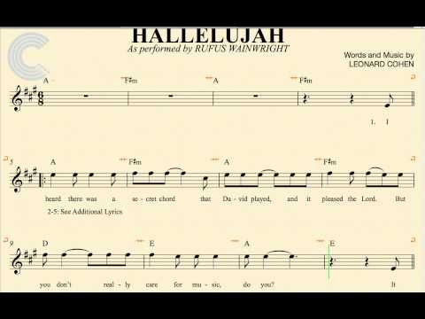 Alto Sax - Hallelujah - Rufus Wainwright - Sheet Music, Chords, & Vocals - YouTube