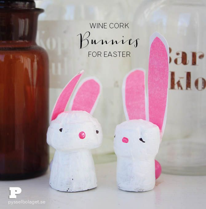 Little bunnies for Easter made from wine corks!
