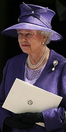 Queen Elizabeth II departs the Guards' Chapel following Princess Diana's ceremony. (November 2007)