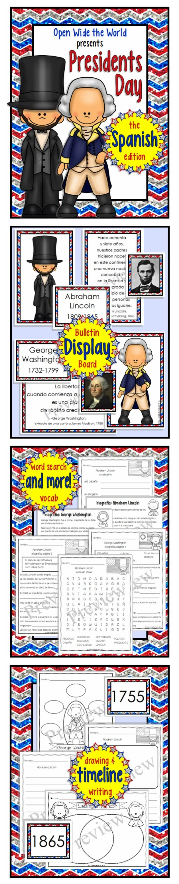 Spanish Presidents Day/el Día del Presidente packet for elementary students. Introduce your students to George Washington and Abraham Lincoln, entirely in Spanish! ($)