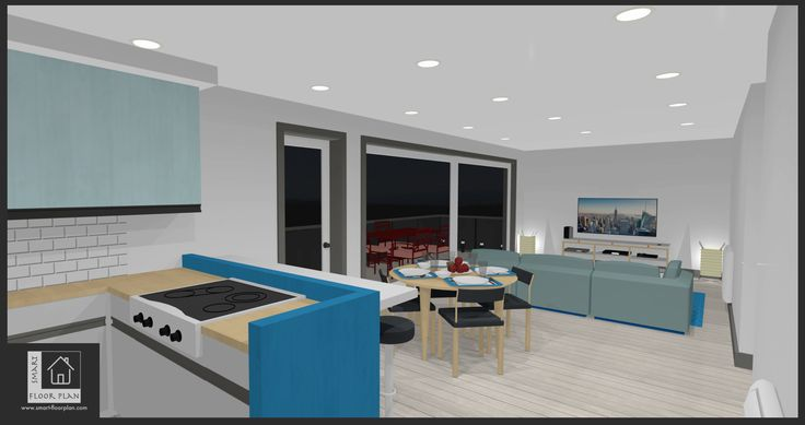 Dining view at Kinsale Apartment. Floor Plan 3D. https://www.smart-floorplan.com