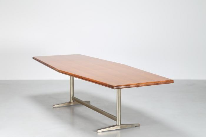 PONTI GIO' (1891 - 1979) - Rarissimo grande tavolo riunioni in legno di noce e base in metallo, realizzato da RIMA 1953 Expertice a cura di Salvatore Licitra Archives Gio Ponti Milano.