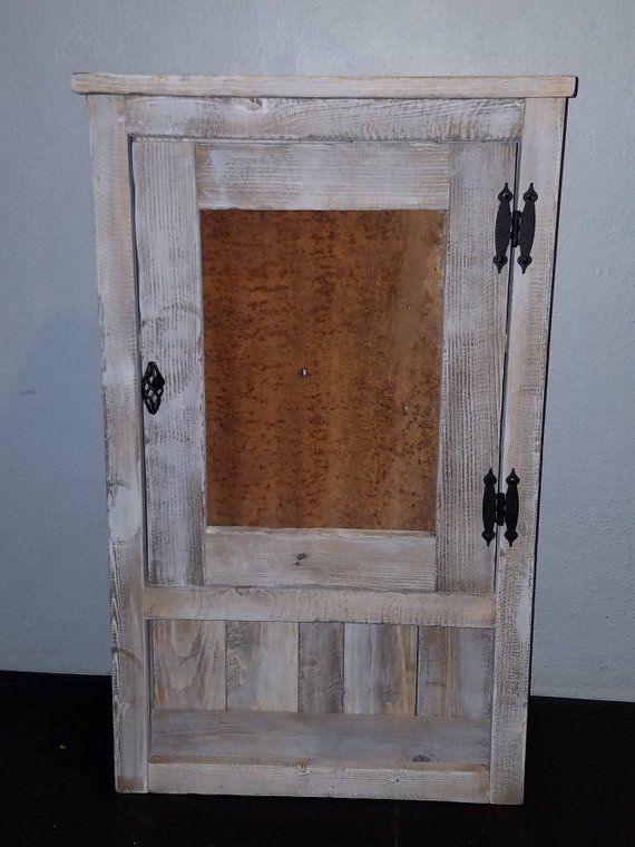 Handmade Rustic Bathroom Wall Cabinet Or Medicine Simple Weathered Wood Look And Old Corrugated Tin Made From Solid