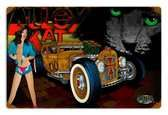 Vintage Rat Rod Alley Cat Metal Sign