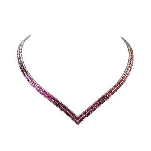 Rainbow Sapphire Double Row Tennis Necklace 18K White Gold (30ct tw)