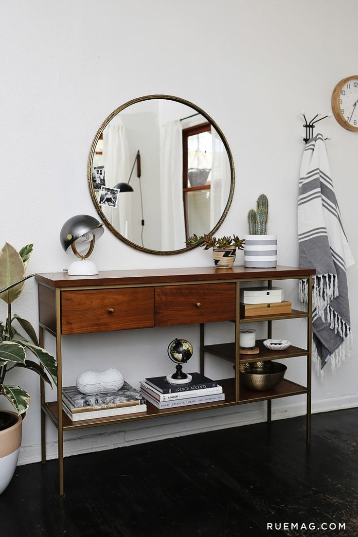 Console Table With Round Mirror  Anne Sage's Home Tour &  Sage Living