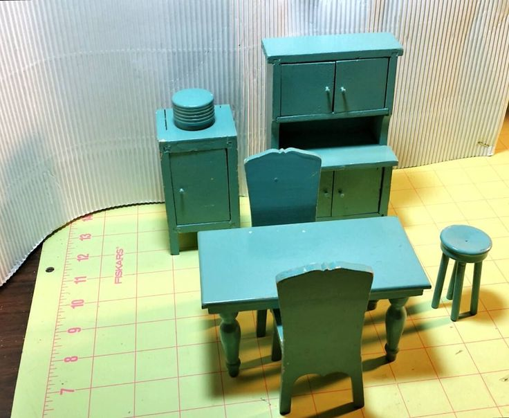 Strombecker Type Vintage Painted Wood Dollhouse Furniture Kitchen Lot 1:12