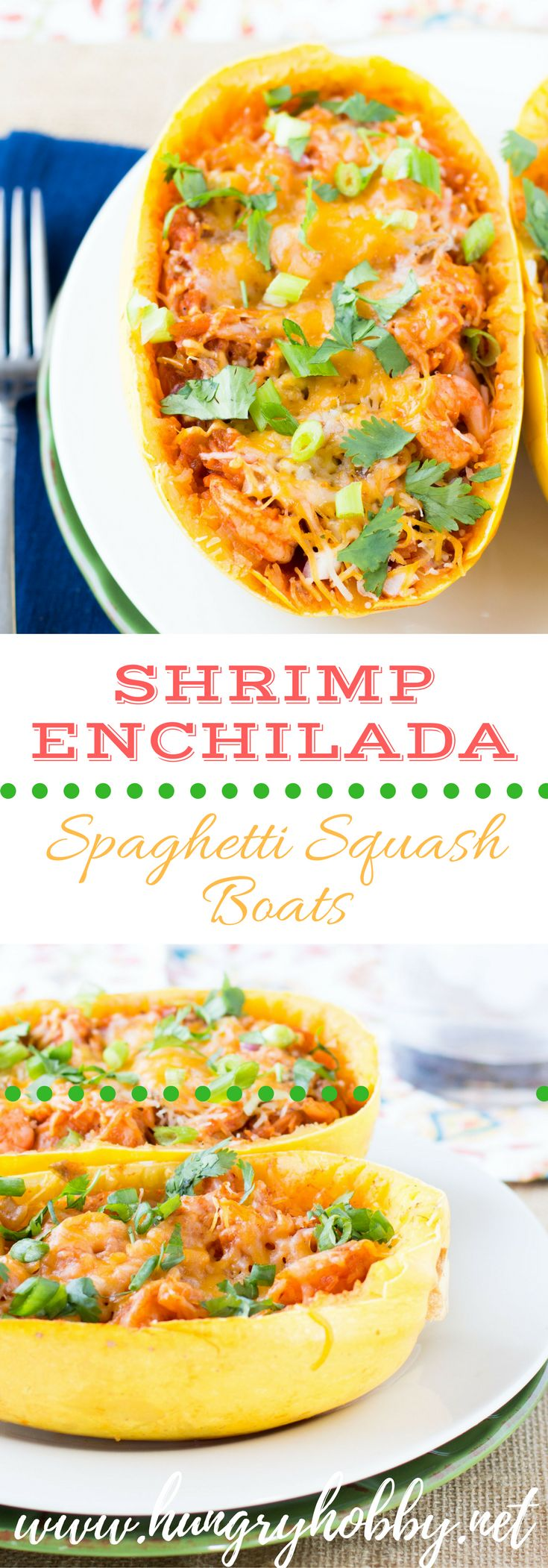 Shrimp Enchilada Spaghetti Squash Boats is a fun and extremely flavorful way to eat your veggies!  A winning dinner every time!  Read on to find out how to make this a one pot meal!  via @hungryhobby