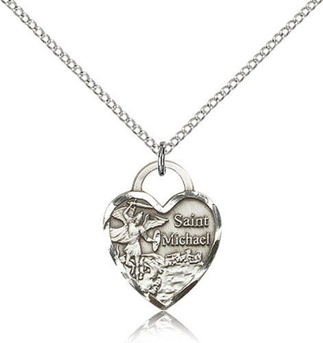 Sterling Silver Saint Michael the Archangel Pendant Medal, 3/4 Inch