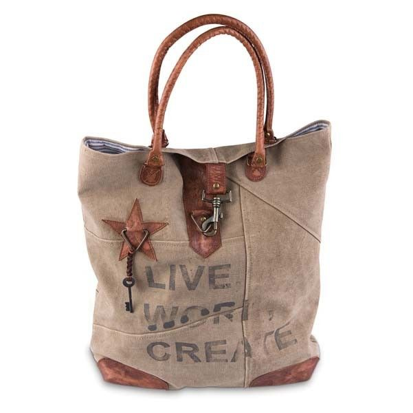 LIVE WORK CREATE The Live Work Create canvas tote bag can do it all! From everyday errands to overnighters, this trendy bag can handle it. With Live Work Create stamped on the front, it features green
