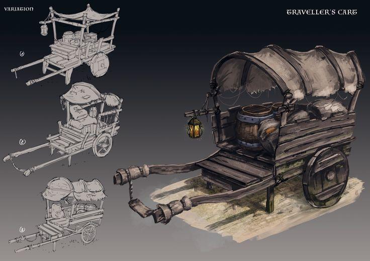 Merlin - traveller's cart, Son Nguyen on ArtStation at https://www.artstation.com/artwork/91NAN