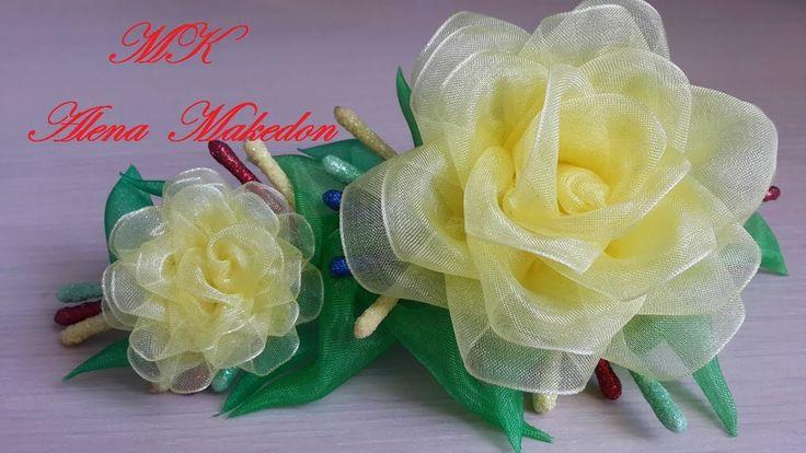 Заколка Канзаши. Желтые Розы. Органза./ A hairpin of Kanzashi. Yellow roses. Organza. - YouTube
