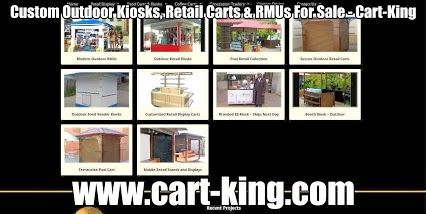 Custom Outdoor Kiosks, Retail Carts & RMUs For Sale - Cart-King  Outdoor kiosks and carts for retail clients. We design and manufacture for food and coffee. Specialty retail for outlet mall applications - Cart-King